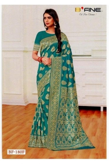 BEN19017-180F Jade Green  and Gold Benarasi Art Silk Saree