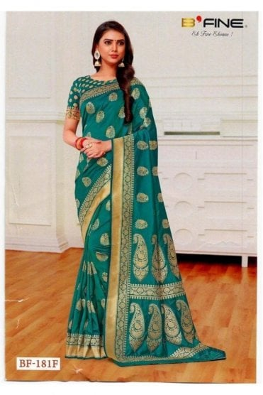 BEN19023-181F Jade Green  and Gold Benarasi Art Silk Saree