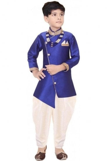 BYK19100 Royal Blue and Ivory 2 Piece Boy's Sherwani Dhoti Suit