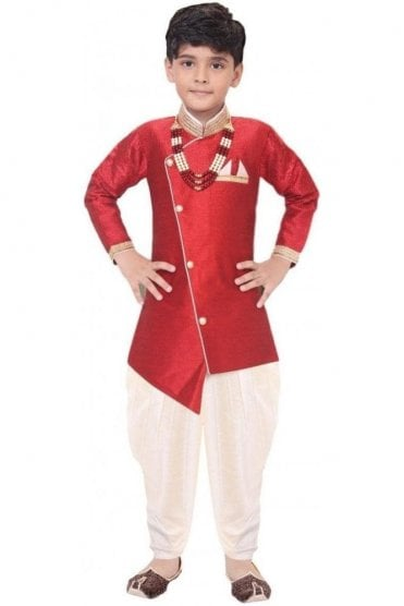 BYK19102 Crimson and Ivory 2 Piece Boy's Sherwani Dhoti Suit