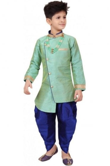 BYK19103 Sea Green and Navy 2 Piece Boy's Sherwani Dhoti Suit