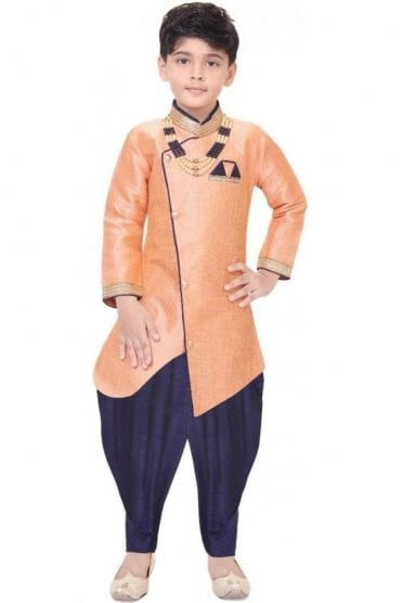 BYK19104 Peach and Navy 2 Piece Boy's Sherwani Dhoti Suit