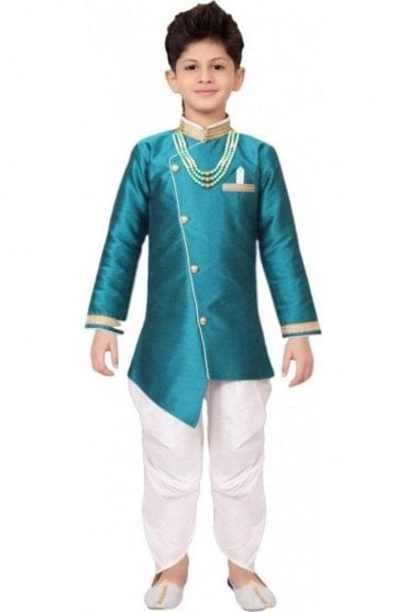 BYK19106 Ramagreen and Ivory 2 Piece Boy's Sherwani Dhoti Suit