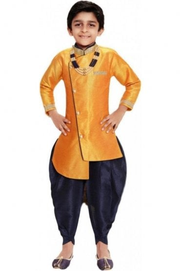 BYK19108 Mustard and Navy 2 Piece Boy's Sherwani Dhoti Suit