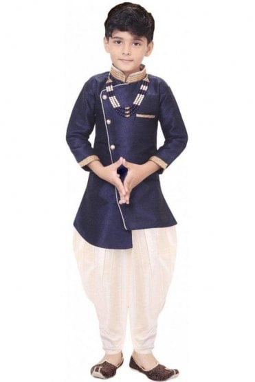 BYK19109 Navy and Ivory 2 Piece Boy's Sherwani Dhoti Suit
