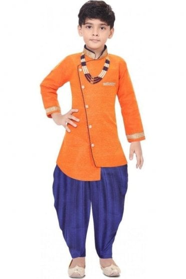 BYK19110 Orange and Navy 2 Piece Boy's Sherwani Dhoti Suit