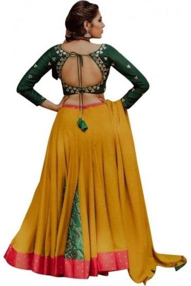 WCC19011 Elegant  Green and Mustard Designer Navratri Special Chaniya Choli Lengha