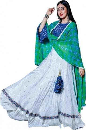 WCC19003 Beautiful  Blue, Green and Shimmer Ivory Designer Navratri Special Chaniya Choli Lengha