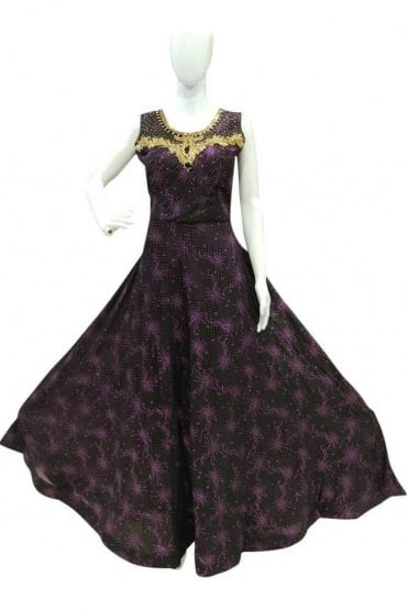 WPD19026 Purple and Black Designer Churidar Suit Gown