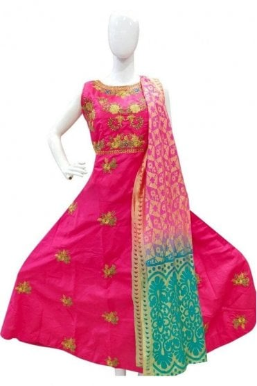 WPD19032 Pink and Jade Green Designer Churidar Suit Gown