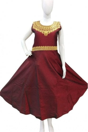 WPD19037 Maroon and Gold Designer Churidar Suit Gown