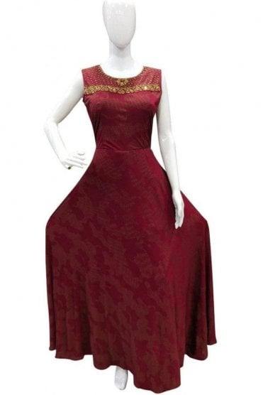 WPD19028 Maroon and Gold Designer Churidar Suit Gown