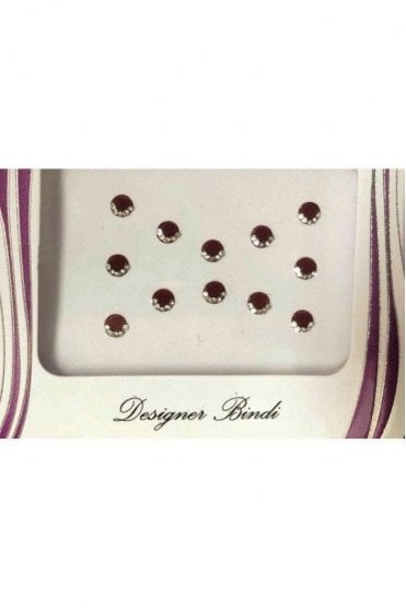 BIN513: Designer Pack of Maroon and Stone Bindi's / Tattoos
