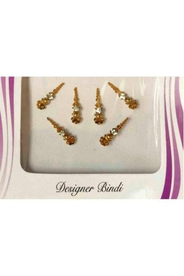 BIN533: Designer Pack of Gold and Stone, Bead and Thread Bindi's / Tattoos