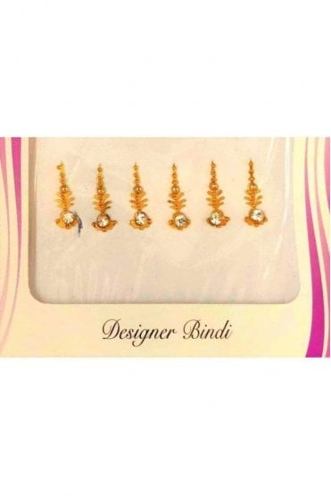 BIN535: Designer Pack of Gold and Stone, Bead and Thread Bindi's / Tattoos