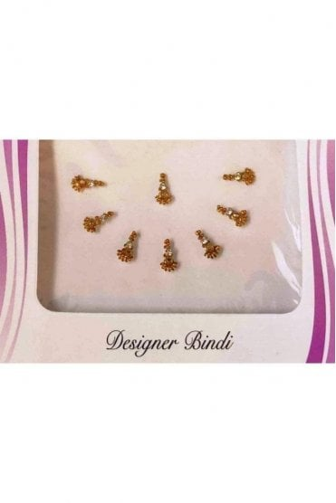 BIN536: Designer Pack of Gold and Stone, Bead and Thread Bindi's / Tattoos