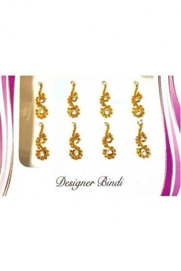 BIN565: Designer Pack of Gold and Stone, Bead and Thread Bindi's / Tattoos