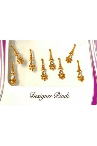 BIN568: Designer Pack of Gold and Stone, Bead and Thread Bindi's / Tattoos