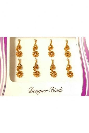 BIN569: Designer Pack of Gold and Stone, Bead and Thread Bindi's / Tattoos