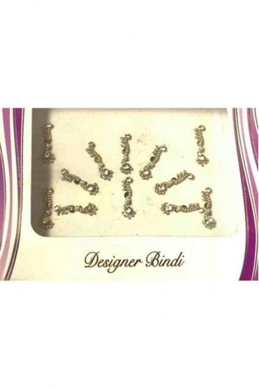 BIN571: Designer Pack of Silver and Stone, Bead and Thread Bindi's / Tattoos