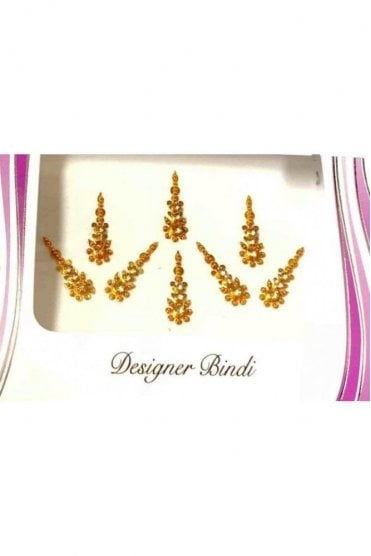BIN572: Designer Pack of Gold and Stone, Bead and Thread Bindi's / Tattoos