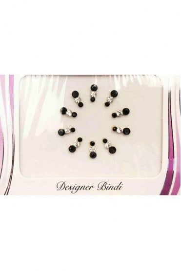 BIN596: Designer Pack of Black and Stone Bindi's / Tattoos