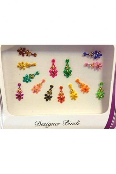 BIN648: Designer Pack of Multicoloured and Stone, Bead and Thread Bindi's / Tattoos