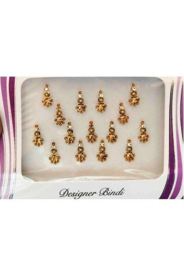 BIN649: Designer Pack of Gold and Stone, Bead and Thread Bindi's / Tattoos