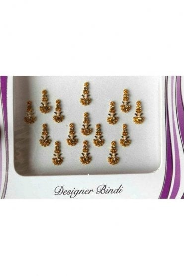 BIN653: Designer Pack of Gold and Stone, Bead and Thread Bindi's / Tattoos