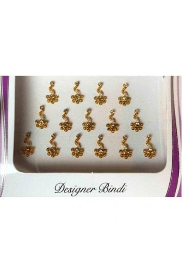 BIN654: Designer Pack of Gold and Stone, Bead and Thread Bindi's / Tattoos