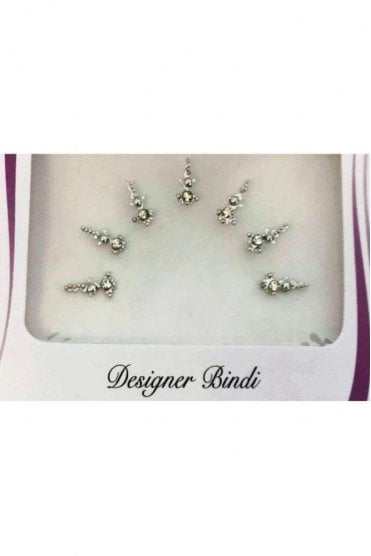 BIN886: Designer Pack of Silver and Stone, Bead and Thread Bindi's / Tattoos