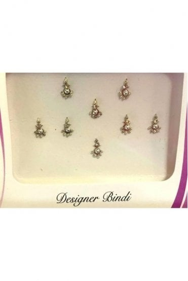 BIN889: Designer Pack of Silver and Stone, Bead and Thread Bindi's / Tattoos