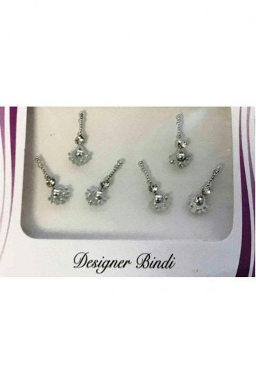 BIN895: Designer Pack of Silver and Stone, Bead and Thread Bindi's / Tattoos