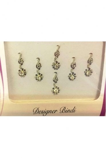 BIN896: Designer Pack of Silver and Stone, Bead and Thread Bindi's / Tattoos