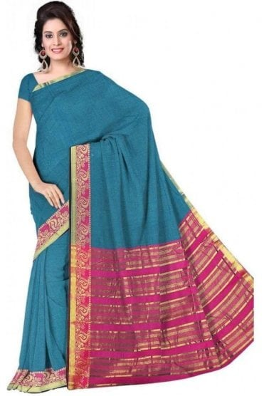 Classic Pink and Blue Faux Cotton Silk Saree with Matching Unstitched Blouse