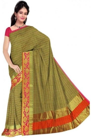 Classy Green and Pink Faux Cotton Silk Saree with Matching Unstitched Blouse