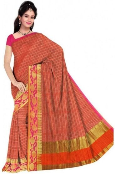Gorgeous Pink and Orange Faux Cotton Silk Saree with Matching Unstitched Blouse