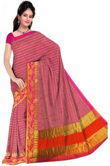 PCS19205  Pink and Orange Poly Cotton Saree - With Unstitched Blouse Piece
