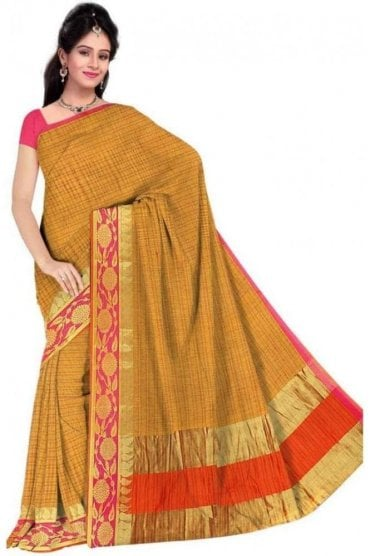 Exquisite Pink and Yellow Faux Cotton Silk Saree with Matching Unstitched Blouse