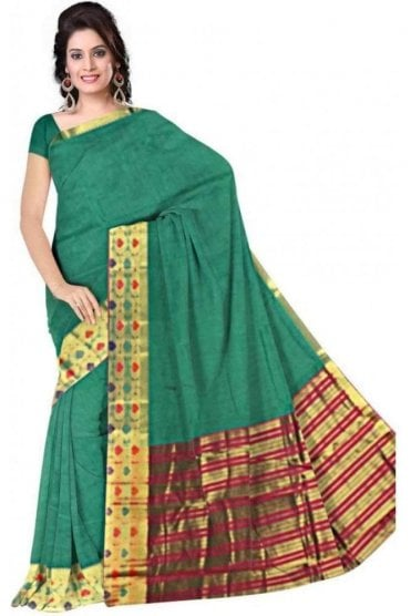 Stylish Green and Pink Faux Cotton Silk Saree with Matching Unstitched Blouse