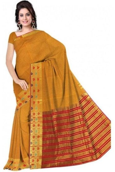 PCS19208  Mustard Yellow and Pink Poly Cotton Saree - With Unstitched Blouse Piece