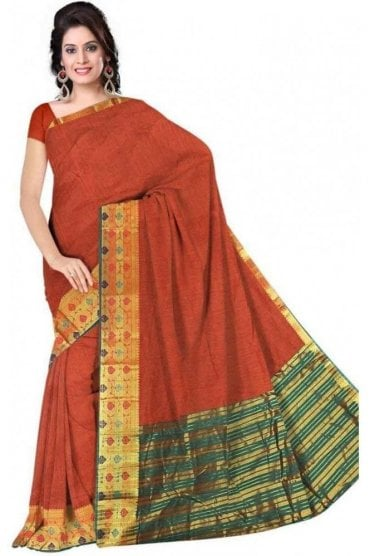 PCS19209  Rust Orange and Green Poly Cotton Saree - With Unstitched Blouse Piece