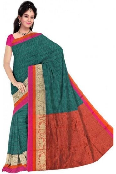 Contemporary Green and  Pink Faux Cotton Silk Saree with Matching Unstitched Blouse