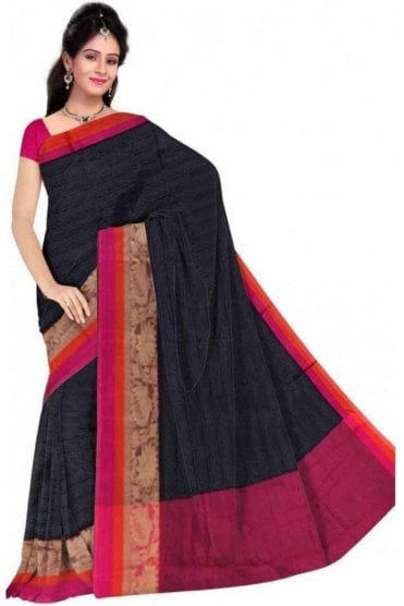 PCS19211  Navy Blue and Purple Poly Cotton Saree - With Unstitched Blouse Piece