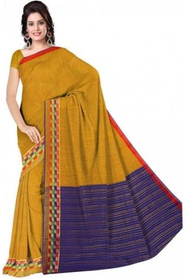 Voguish Blue and  Yellow Faux Cotton Silk Saree with Matching Unstitched Blouse