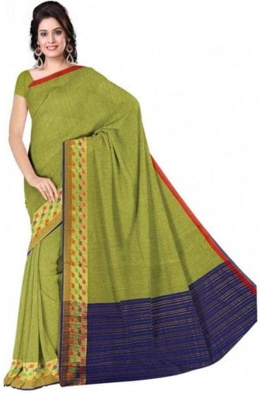 PCS19213  Green and Navy Blue Poly Cotton Saree - With Unstitched Blouse Piece