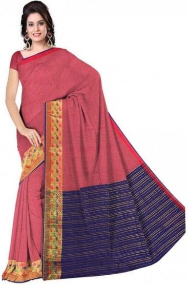 Glamourous Pink and  Purple Faux Cotton Silk Saree with Matching Unstitched Blouse