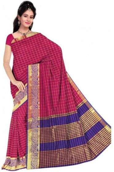 Chic Pink and  Blue Faux Cotton Silk Saree with Matching Unstitched Blouse