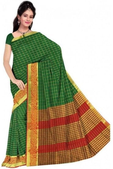 Exclusive Green and  Red Faux Cotton Silk Saree with Matching Unstitched Blouse