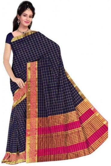 PCS19217  Navy Blue and Pink Poly Cotton Saree - With Unstitched Blouse Piece